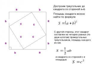 Достроим треугольник до квадрата со стороной a+b Площадь квадрата можно найти по