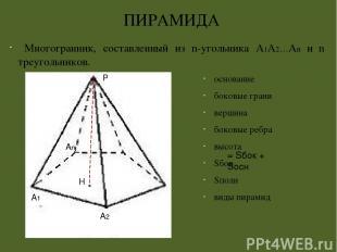 основание боковые грани боковые ребра высота апофема Sбок Правильная пирамида =
