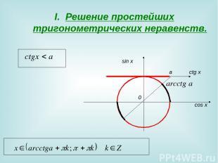 Решение простейших тригонометрических неравенств. 0 sin x cos x a сtg x
