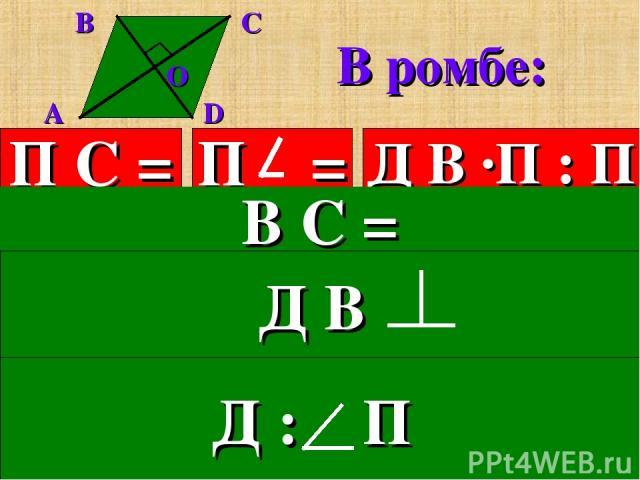 В ромбе: П С = Д В ·П : П 3.Все стороны равны. В С = 5.Диагонали взаимно перпендикулярны. 6.Диагонали делят углы пополам.