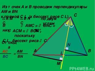 Из точек A и B проводим перпендикуляры AM и BN к прямой C L (к биссектрисе C L).