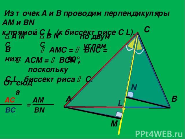 Из точек A и B проводим перпендикуляры AM и BN к прямой C L (к биссектрисе C L). по двум углам A C B L M N Δ A M C Δ B N C AMC = BNC = 90°, Отсюда ACM = BCN , поскольку C L биссектриса C. В них: AС = AM BC BN