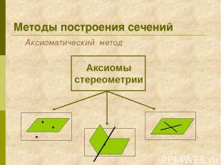 Методы построения сечений Аксиоматический метод Аксиомы стереометрии