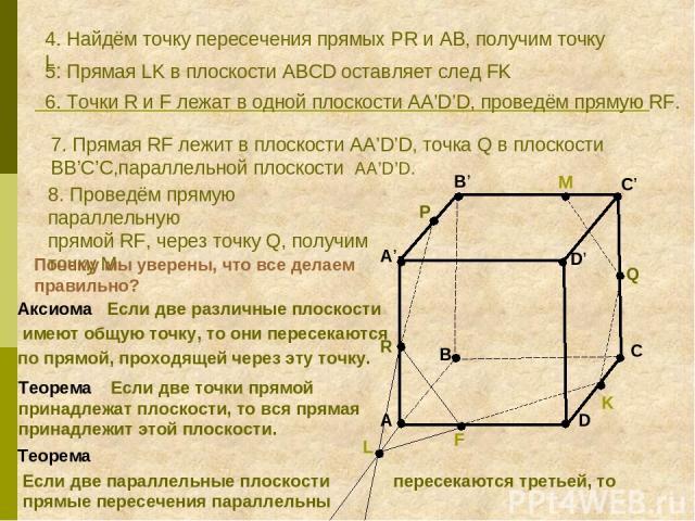 A B C D A' B' C' D' R P Q 4. Найдём точку пересечения прямых PR и AB, получим точку L. K L 5. Прямая LK в плоскости ABCD оставляет след FK F 6. Точки R и F лежат в одной плоскости AA'D'D, проведём прямую RF. M 7. Прямая RF лежит в плоскости АA'D'D, …