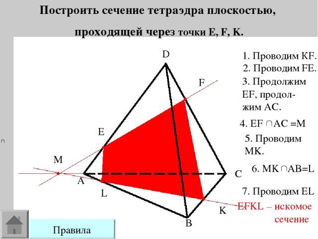 Построить сечение тетраэдра плоскостью, проходящей через точки E, F, K. E F K L A B C D M 1. Проводим КF. 2. Проводим FE. 3. Продолжим EF, продол- жим AC. 5. Проводим MK. 7. Проводим EL EFKL – искомое сечение Правила
