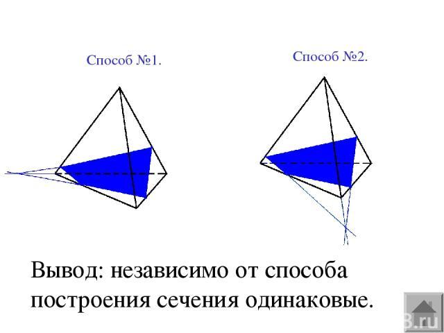 Вывод: независимо от способа построения сечения одинаковые. Способ №1. Способ №2.