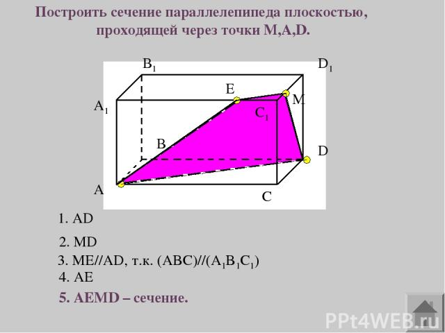 A1 А В В1 С С1 D D1 Построить сечение параллелепипеда плоскостью, проходящей через точки M,A,D. М 1. AD 2. MD 3. ME//AD, т.к. (ABC)//(A1B1C1) 4. AE 5. AEMD – сечение. E