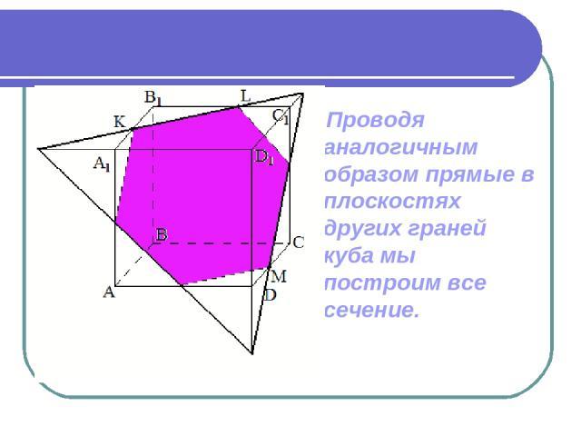 Проводя аналогичным образом прямые в плоскостях других граней куба мы построим все сечение.