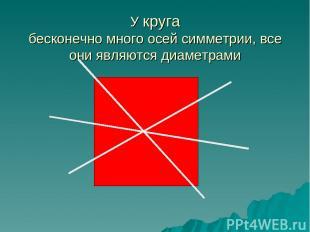 У круга бесконечно много осей симметрии, все они являются диаметрами