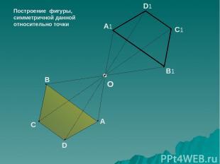 B A C D B1 A1 C1 D1 O Построение фигуры, симметричной данной относительно точки
