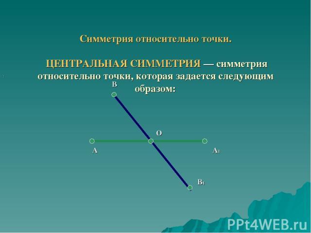 Симметрия относительно точки. ЦЕНТРАЛЬНАЯ СИММЕТРИЯ — симметрия относительно точки, которая задается следующим образом: : А А1 В В1 О