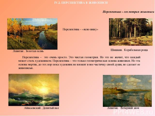 IV.2. ПЕРСПЕКТИВА В ЖИВОПИСИ Айвазовский . Девятый вал Левитан. Вечерний звон Левитан . Золотая осень Шишкин. Корабельная роща Перспектива – это очень просто. Это чистая геометрия. Но это не значит, что каждый может стать художником. Перспектива – э…