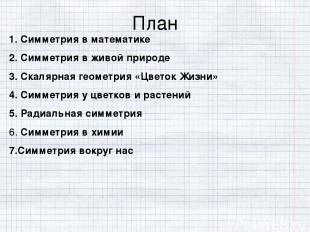 План 1. Симметрия в математике 2. Симметрия в живой природе 3. Скалярная геометр