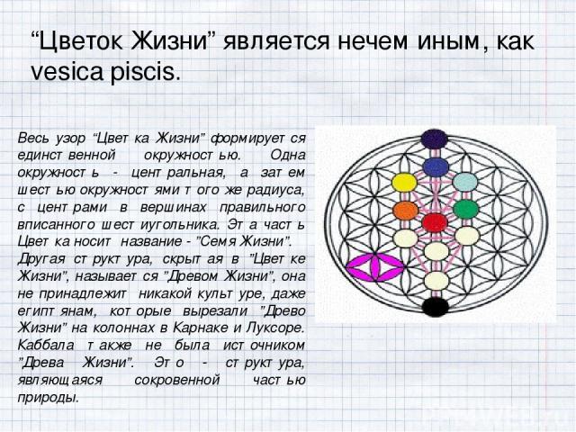 """""""Цветок Жизни"""" является нечем иным, как vesica piscis. Весь узор """"Цветка Жизни"""" формируется единственной окружностью. Одна окружность - центральная, а затем шестью окружностями того же радиуса, с центрами в вершинах правильного вписанного шестиуголь…"""