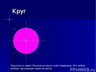Круг Окружность имеет бесконечно много осей симметрии. Это любые прямые, проходя