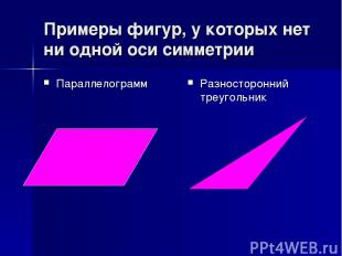 Примеры фигур, у которых нет ни одной оси симметрии Параллелограмм Разносторонни