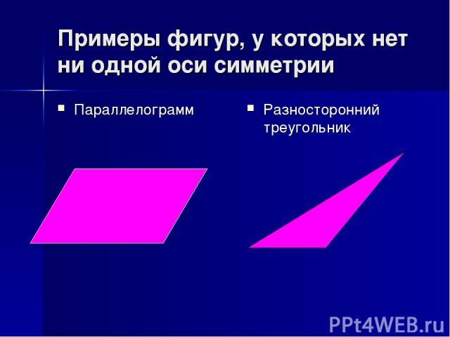 Примеры фигур, у которых нет ни одной оси симметрии Параллелограмм Разносторонний треугольник