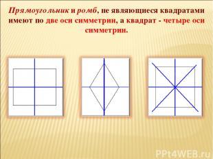 Прямоугольник и ромб, не являющиеся квадратами имеют по две оси симметрии, а ква