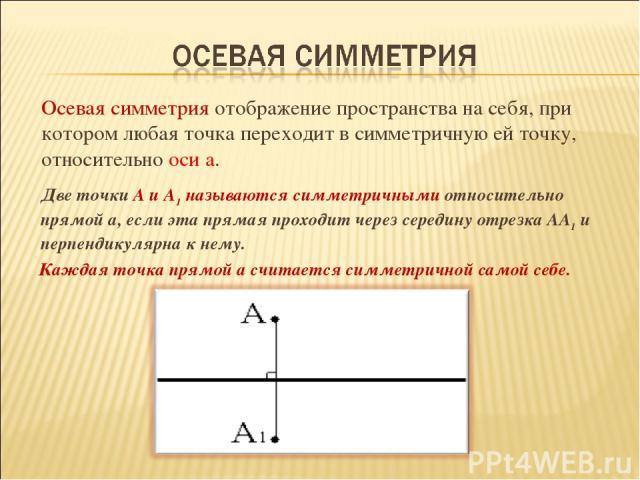 Две точки А и А1 называются симметричными относительно прямой а, если эта прямая проходит через середину отрезка АА1 и перпендикулярна к нему. Каждая точка прямой а считается симметричной самой себе.  Осевая симметрия отображение пространства на с…