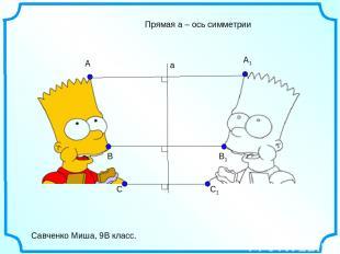 C C1 B B1 a A A1 Савченко Миша, 9В класс. Прямая а – ось симметрии