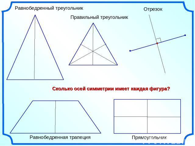 Правильный треугольник Равнобедренный треугольник Отрезок Прямоугольник Сколько осей симметрии имеет каждая фигура? Равнобедренная трапеция