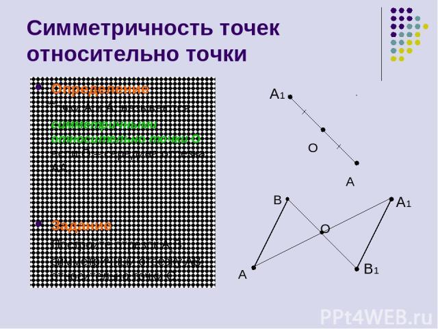 Симметричность точек относительно точки Определение Точки A и A1 называются симметричными относительно точки О, если О – середина отрезка AA1. Задание Постройте отрезок A1B1, симметричный отрезку AB относительно точки О. A O A B B1 O A1 A1