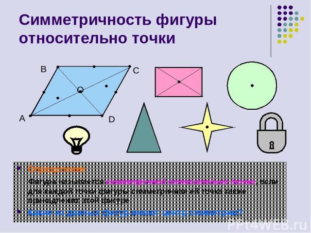 Симметричность фигуры относительно точки Определение Фигура называется симметричной относительно точки, если для каждой точки фигуры симметричная ей точка также принадлежит этой фигуре. Какие из данных фигур имеют центр симметрии? A B C D O