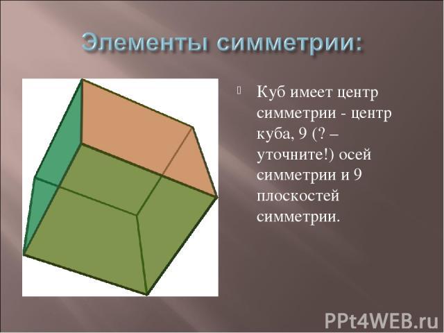 Куб имеет центр симметрии - центр куба, 9 (? – уточните!) осей симметрии и 9 плоскостей симметрии.