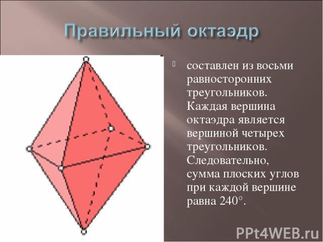 составлен из восьми равносторонних треугольников. Каждая вершина октаэдра является вершиной четырех треугольников. Следовательно, сумма плоских углов при каждой вершине равна 240°.