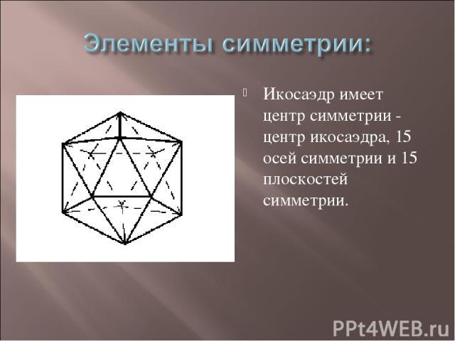 Икосаэдр имеет центр симметрии - центр икосаэдра, 15 осей симметрии и 15 плоскостей симметрии.