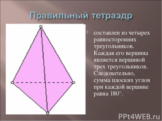 составлен из четырех равносторонних треугольников. Каждая его вершина является вершиной трех треугольников. Следовательно, сумма плоских углов при каждой вершине равна 180°.