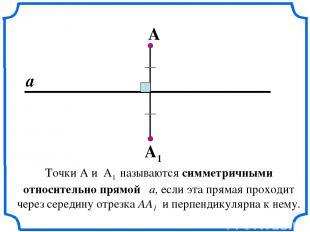 Точки А и А1 называются симметричными относительно прямой a, если эта прямая пр