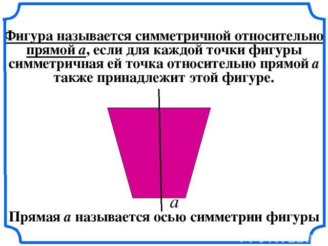 Фигура называется симметричной относительно прямой a, если для каждой точки фигуры симметричная ей точка относительно прямой а также принадлежит этой фигуре. а Прямая а называется осью симметрии фигуры