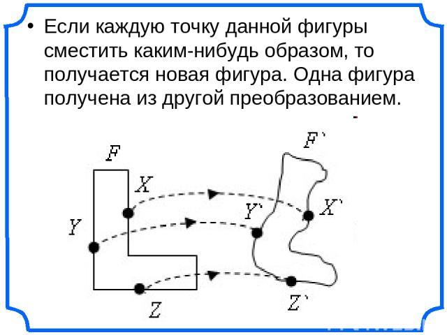 Если каждую точку данной фигуры сместить каким-нибудь образом, то получается новая фигура. Одна фигура получена из другой преобразованием.