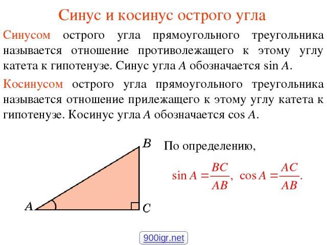 Синус и косинус острого угла Синусом острого угла прямоугольного треугольника называется отношение противолежащего к этому углу катета к гипотенузе. Синус угла А обозначается sin A. Косинусом острого угла прямоугольного треугольника называется отнош…