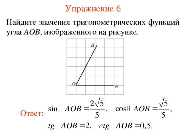 Упражнение 6 Найдите значения тригонометрических функций угла AOB, изображенного на рисунке.