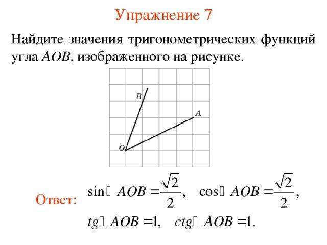 Упражнение 7 Найдите значения тригонометрических функций угла AOB, изображенного на рисунке.