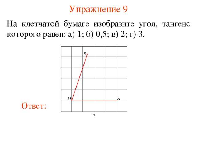 Упражнение 9 На клетчатой бумаге изобразите угол, тангенс которого равен: а) 1; б) 0,5; в) 2; г) 3.