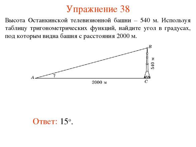Упражнение 38 Ответ: 15о. Высота Останкинской телевизионной башни – 540 м. Используя таблицу тригонометрических функций, найдите угол в градусах, под которым видна башня с расстояния 2000 м.