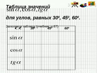 Таблица значений для углов, равных 300, 450, 600. Заполните таблицу (учебник, п.
