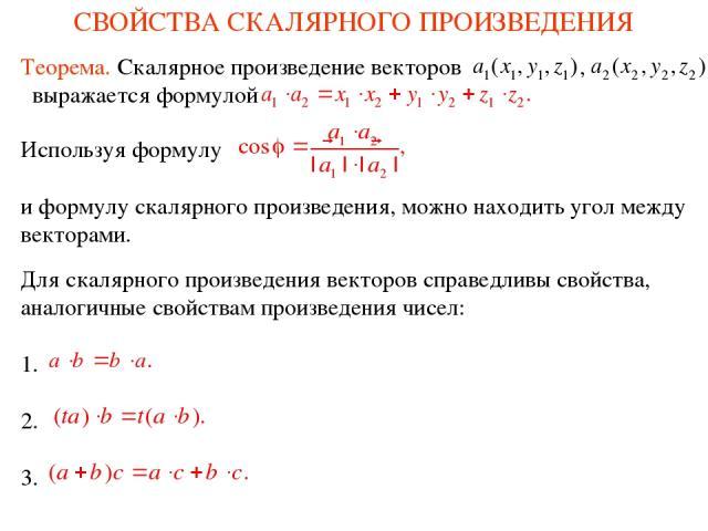 СВОЙСТВА СКАЛЯРНОГО ПРОИЗВЕДЕНИЯ Для скалярного произведения векторов справедливы свойства, аналогичные свойствам произведения чисел: 1. 2. 3. Используя формулу и формулу скалярного произведения, можно находить угол между векторами. Теорема. Скалярн…