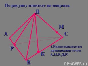 По рисунку ответьте на вопросы. А Д С В Р К М 1.Каким плоскостям принадлежит точ