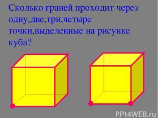 Сколько граней проходит через одну,две,три,четыре точки,выделенные на рисунке ку