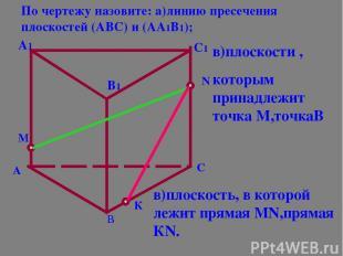 А В С А1 В1 С1 М К N По чертежу назовите: а)линию пресечения плоскостей (АВС) и