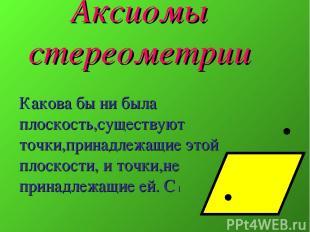 Аксиомы стереометрии Какова бы ни была плоскость,существуют точки,принадлежащие