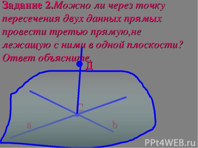 Задание 2.Можно ли через точку пересечения двух данных прямых провести третью прямую,не лежащую с ними в одной плоскости?Ответ объясните. а b C Д