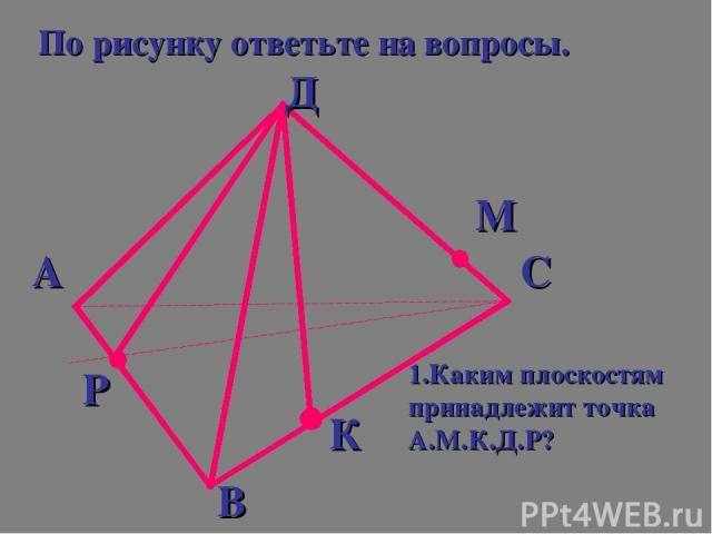 По рисунку ответьте на вопросы. А Д С В Р К М 1.Каким плоскостям принадлежит точка А.М.К.Д.Р?