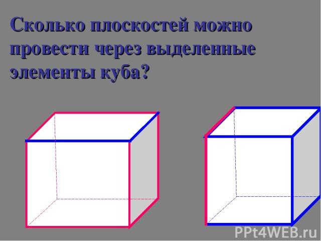 Сколько плоскостей можно провести через выделенные элементы куба?