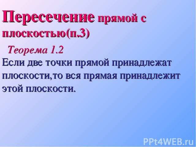 Пересечение прямой с плоскостью(п.3) Теорема 1.2 Если две точки прямой принадлежат плоскости,то вся прямая принадлежит этой плоскости.