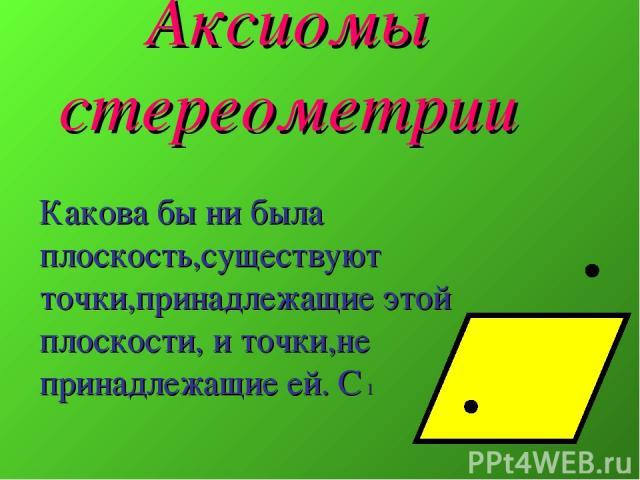 Аксиомы стереометрии Какова бы ни была плоскость,существуют точки,принадлежащие этой плоскости, и точки,не принадлежащие ей. С 1